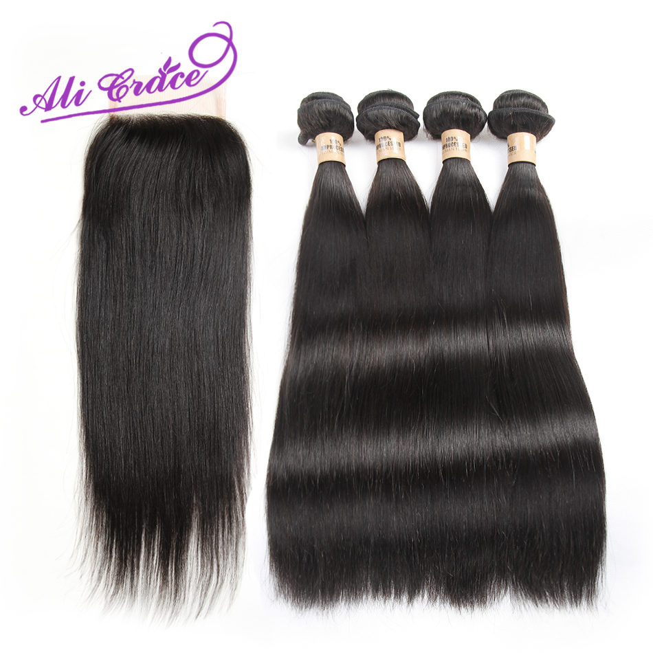 Ali Grace Mink Peruvian Virgin Hair Straight Unprocessed Human Hair With Closure 8A Peruvian Virgin Hair 4 Bundles With Closure