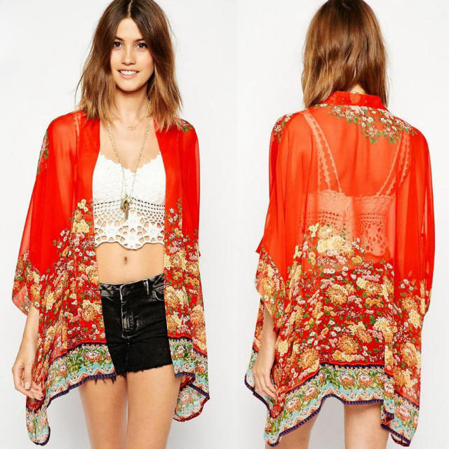 Online Shop UK Brand Summer Ladies Kimono Jacket Cardigan Tops ...