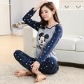 Otoño de Las Mujeres Pijamas Conjuntos de Ropa Camisa Famaily Chándal Camisetas de Manga Larga Conjunto Femenino Traje de Noche ropa de Dormir de Algodón Suave