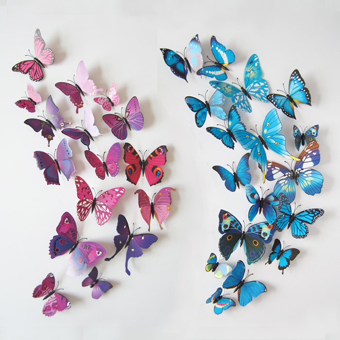 12 PCS/LOT PVC 3D Butterfly Wall Stickers Decals Home Decor Poster for Kids Rooms Adhesive to Wall Decoration(China)