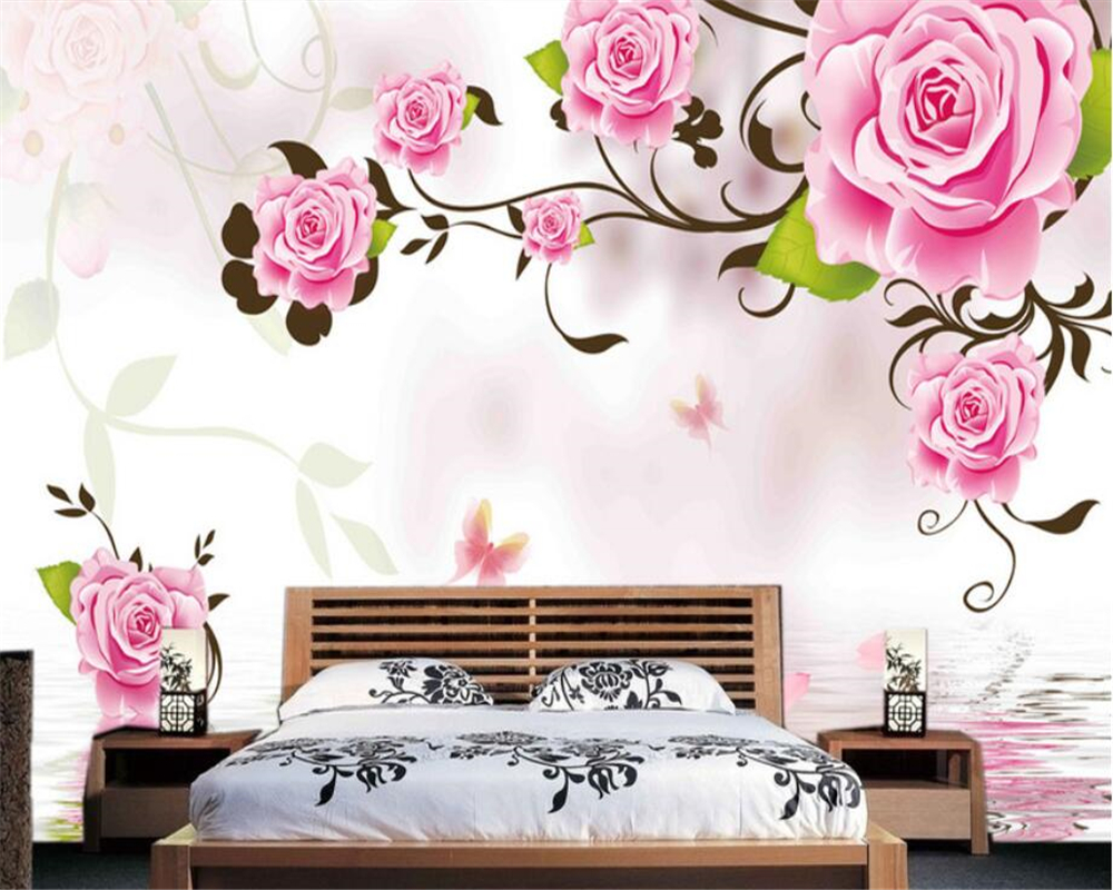 Beibehang 3D Large custom wallpaper fantasy rose butterfly reflection fashion modern background wall painting 3d wallpaper mural