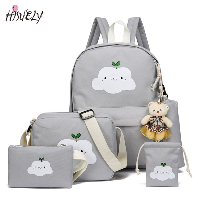 7b9589f8a59a New Fashion Nylon Backpack Schoolbags School For Girl Teenagers Casual Children  Travel Bags Rucksack Cute Cloud Printing 2018