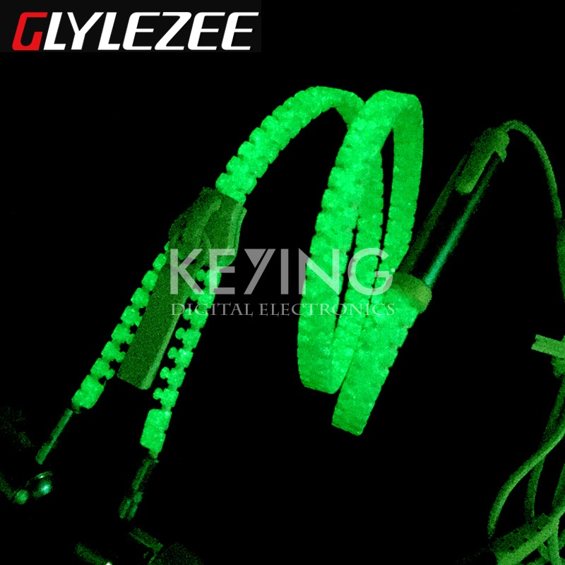 Glylezee Luminous Zipper Headset Earphone Mini Glow Zipper Earpieces with Microphone 3.5MM Port for MP3 Cellphone