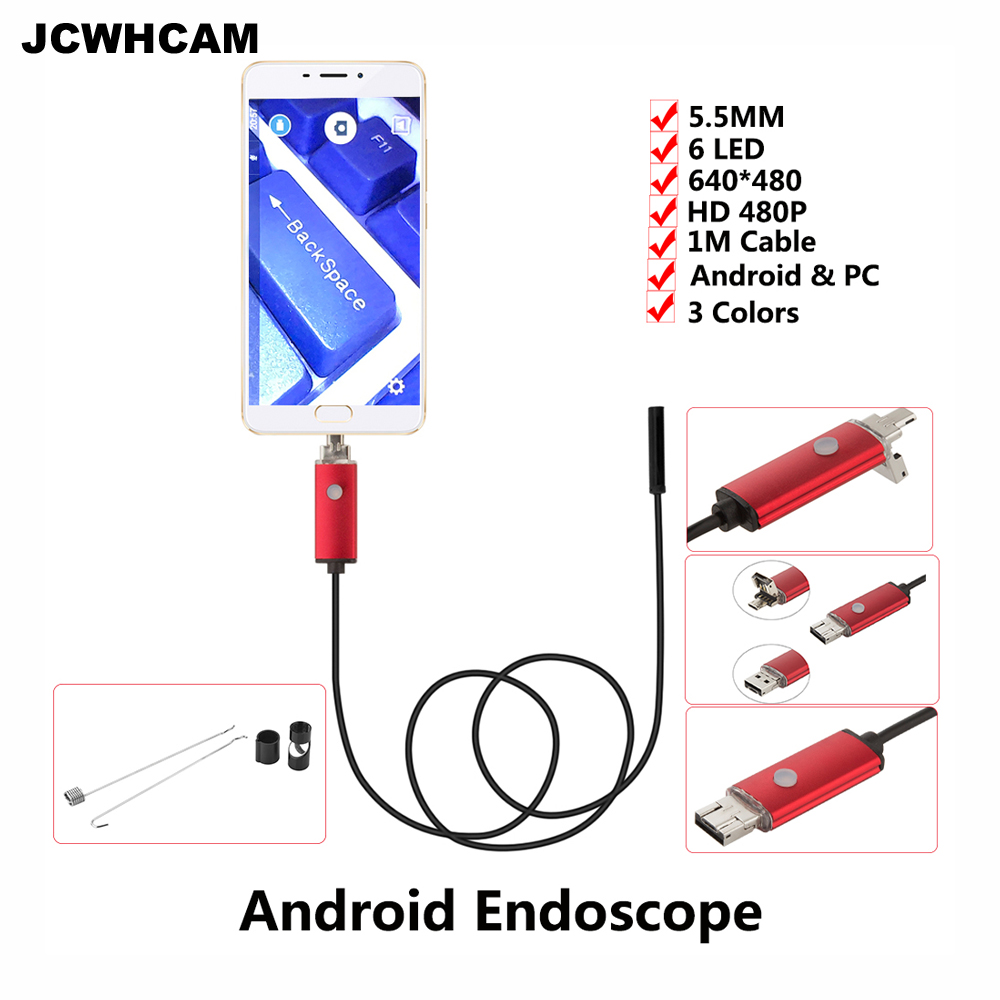 JCWHCAM 5.5MM Endoscope 1M Cable USB Endoscope Android Camera Snake Tube Pipe Inspection USB Endoskop Waterproof Borescope Cam
