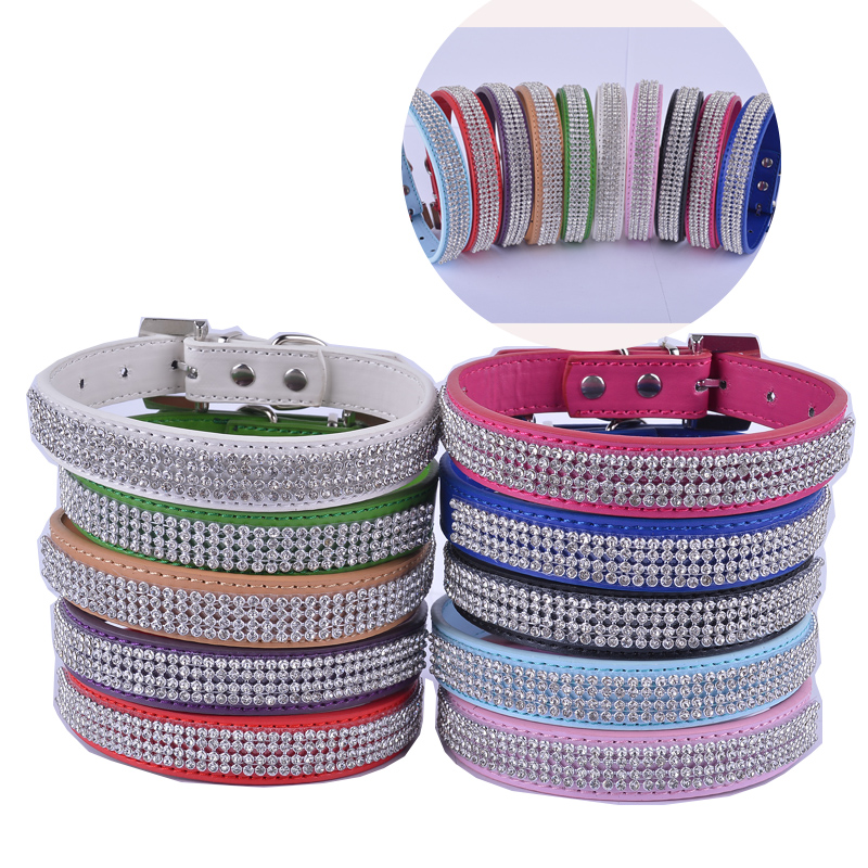 Personlig Pu Leather Dog-Collar Rhinestone Spänne Krage För Hundar Små Pet Dog Supplies Justerbar Röd Rosa Blå Lila