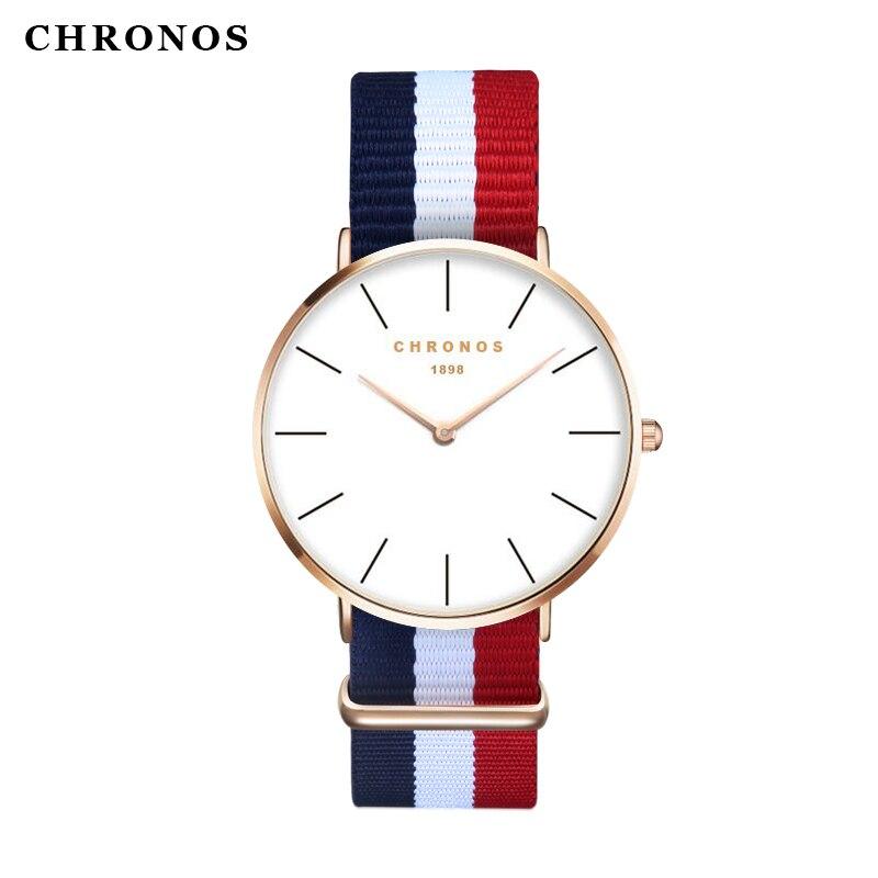Luxus Marke CHRONOS 1898 Männer frauen Kleiden Uhren Mode Nylon Casual Sport Quarzuhr Montre Femme Clock Relogio Masculino