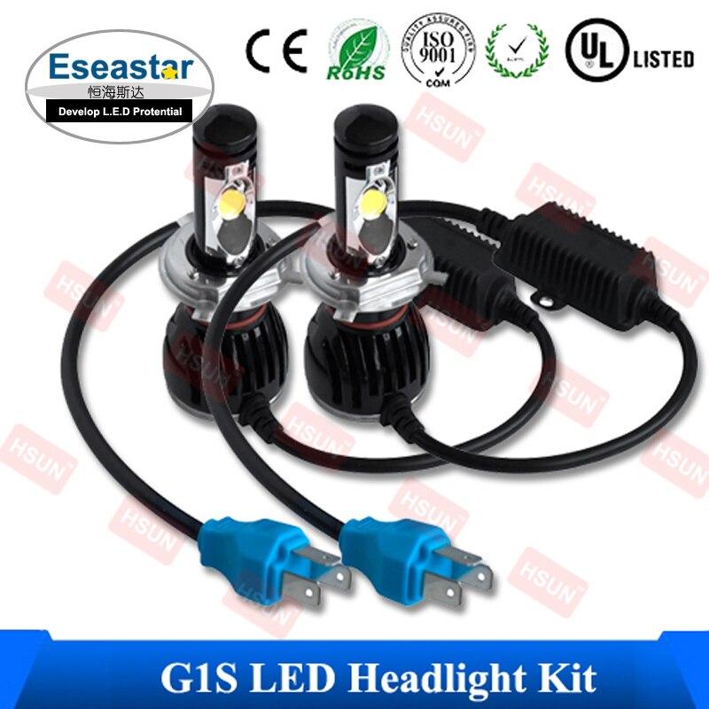 ФОТО 2 Pcs/Lot Eseastar Free Shipping G1S Car led headlight kit , H4 LED auto headlamp , cob motorcycle fog lamp h4