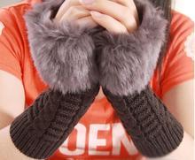 2016 New Fashion Cute Fur Hand Winter Warmer Knitted Fingerless Gloves Mitten 5 Colors TS002