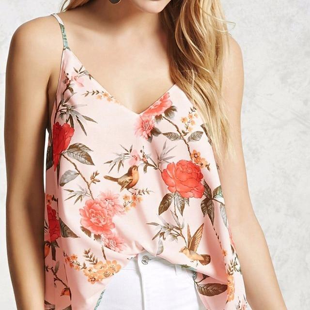 b71fd26eddb Summer Women Floral Flower Vest Tops Camisole Vest Sparrow Bird Floral  Strappy Tank Tops Sleeveless T Shirt Blusas Plus Size