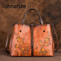 Johnature Genuine Leather Retro Embossed Women Handbags&Crossbody Bags 2019 New Large Capacity Cowhide Fashion Floral Totes
