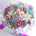 8-inch custom bridal bouquet, Purple hydrangea brooch bouquet , crystal jewelry bouquet  Wedding bride's bouquets decor
