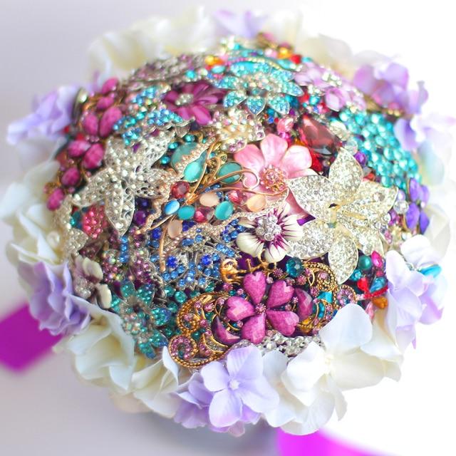 8 inch custom bridal bouquet Purple hydrangea brooch bouquet