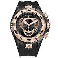 Reef Tiger Aurora Serier RGA303 2 мужские спортивные большие часы водостойкие кварцевые наручные часы с хронографом большой циферблат Rosegold