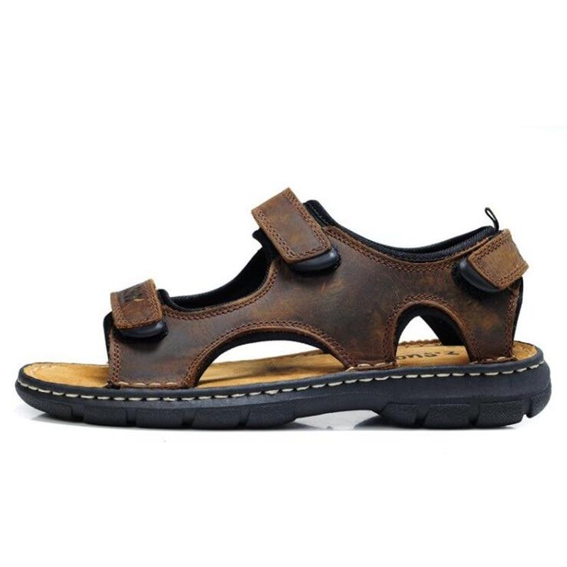 D' Homens À Flat De Prova Água Dos Sapatos Praia Lazer Sandalia Sandálias Hombres Cuero Moda Borracha Los Marrom Solas Verão Novos qfOxw7ZP5