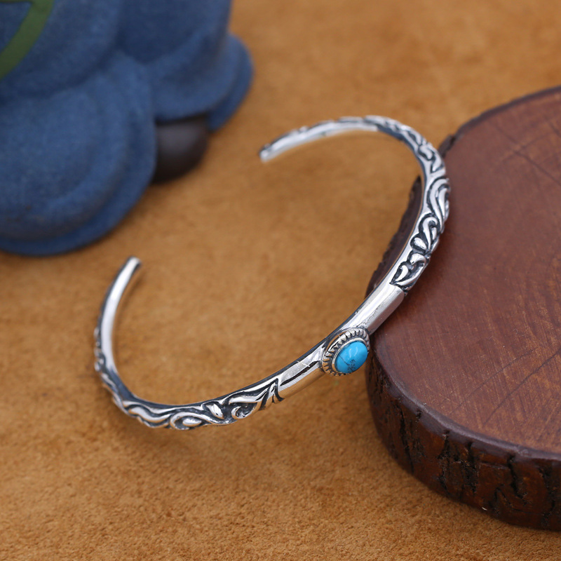 S925 Sterling Silver Jewelry Retro Thai Silver Simple Thin Ring Tang Grass Mosaic Turquoise Men And Women Open Ended Bangle retro fake turquoise multilayered toe ring anklet