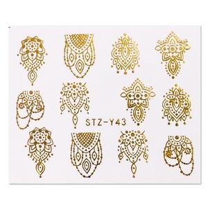 Image 5 - 16pcs Gold Nail Polish Stickers Sieraden Ketting Bloemen Jungle Bladeren Water Decals Sliders voor Nagels Accessoires BESTZ YY16