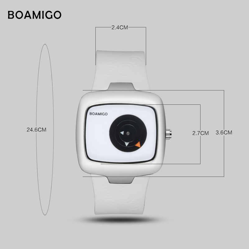 ファッション女性腕時計 BOAMIGO ブランドクリエイティブレディースクォーツ腕時計ガール白ゴム腕時計ギフト時計レロジオ feminino