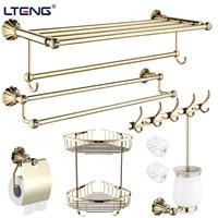 Antique Brass Bath Hardware Hanger Set Package Polished Carved With Dril Paper Holder Shelf Wall Mount