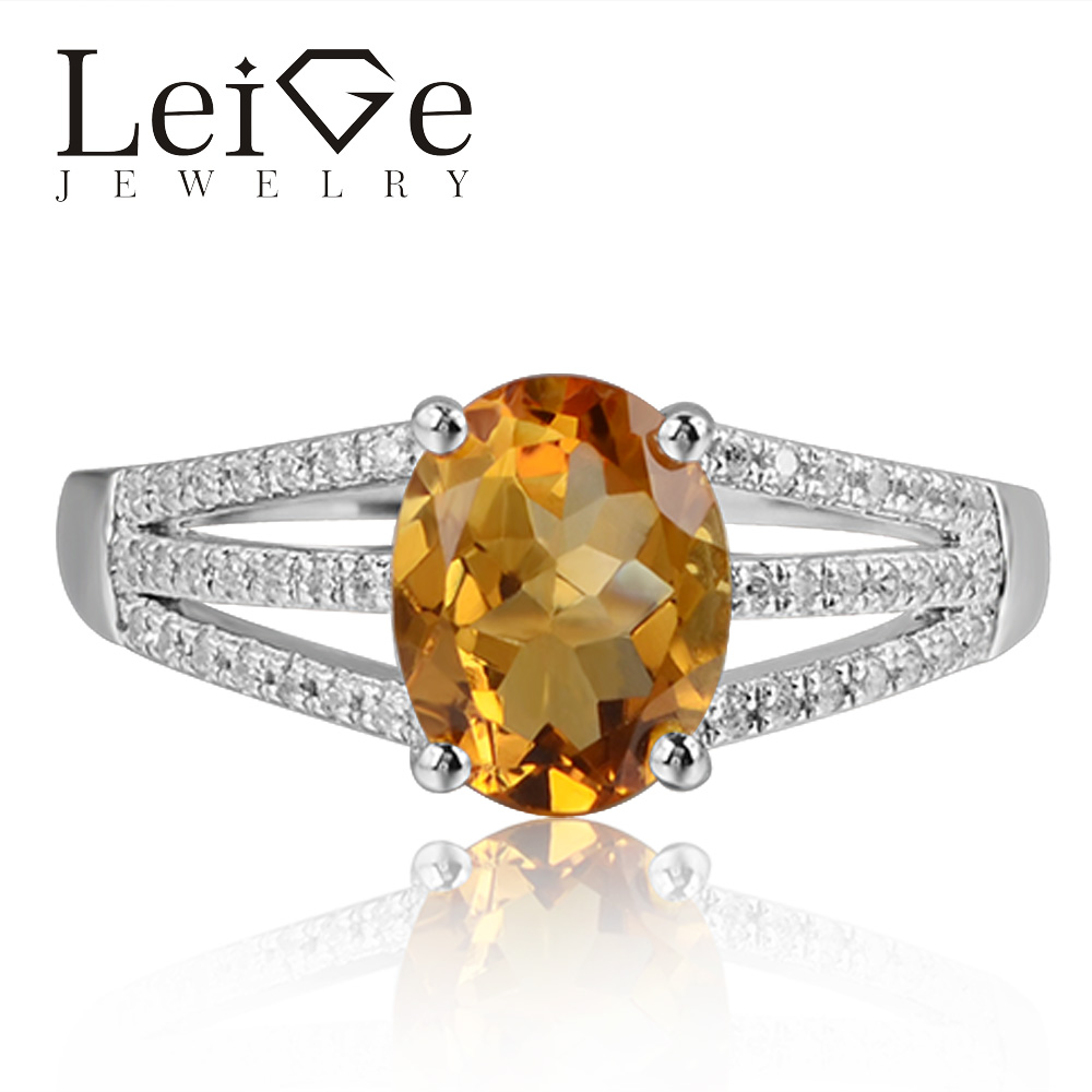 Leige Jewelry Natural Yellow Color Citrine Gemstone 925 Sterling Silver Oval Cut Wedding Rings Romantic Gifts For Woman Leige Jewelry Natural Yellow Color Citrine Gemstone 925 Sterling Silver Oval Cut Wedding Rings Romantic Gifts For Woman