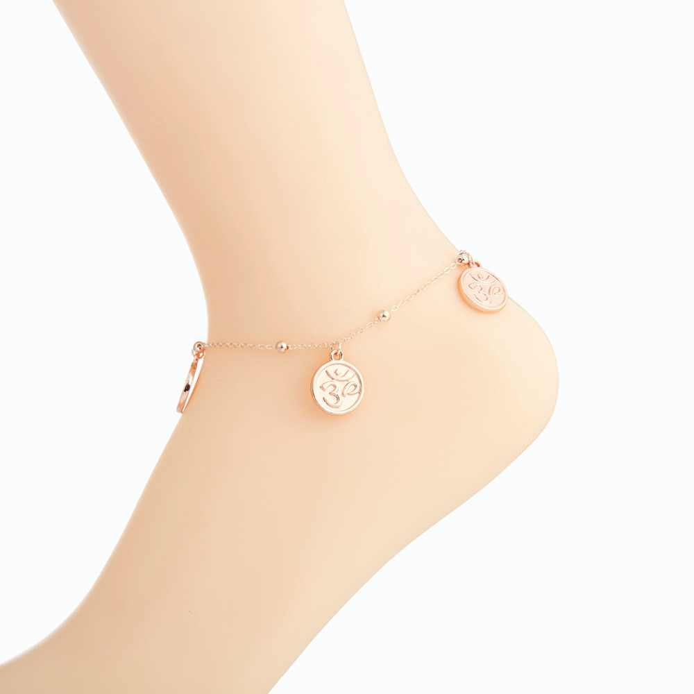 Moda 3 Symbol OM obrączki dla kobiet plaża kostki bransoletka sandały Brides buty boso prezenty okrągły dysk dynda biżuteria