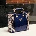 QIAN YI YUAN Marca Mujer bolso de Cuero Genuino Totes Bolsos de Moda y bolsos Crossbody de Las Mujeres Del Bordado Floral de La bolsa de mensajero