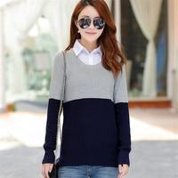 Las mujeres de Corea del salvaje cuello de la camisa de dos colores costura pullover mujeres suéter mujeres suelta de dos piezas de camisa de la señora capa delgada S2812