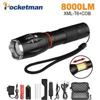 8000ml LED Flashlight COB XM L T6 Zoomable Torch light for 18650 Rechargeable Battery AAA tail super magnet design camping lamp