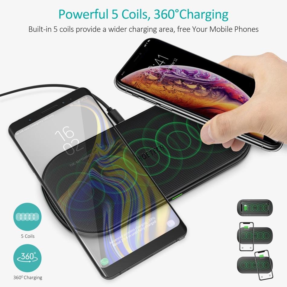 CHOETECH chargeur sans fil double Pad rapide QI recharge sans fil pour iPhone Xs Max Xr X 10 W 2 téléphones Dock chargeur pour Samsung S9 S8
