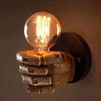 Topo!-retro mão direita punho resina lâmpada de parede loft vento industrial decoração lâmpada de parede antigo e27 interface de parafuso