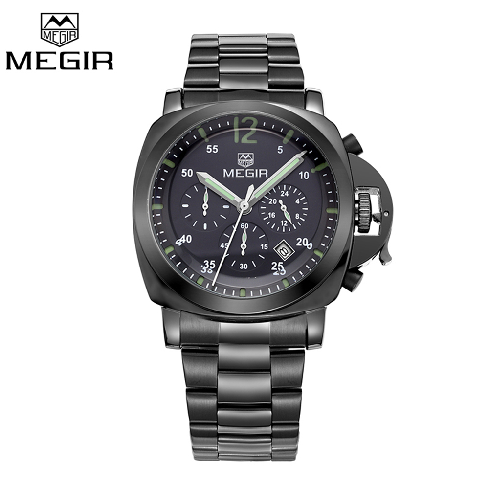 MEGIR Hot Mens Watches Military Army Top Brand Luxury Sports Casual Waterproof Men Watch Stainless Steel Quartz Wristwatches mance mens watches top brand luxury quality military sports men s dual display multi function stainless steel mens watches