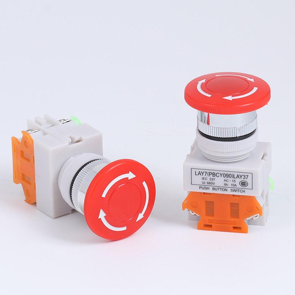 1PCS CNC Emergency Stop Mushroom Pushbutton Switch 10A