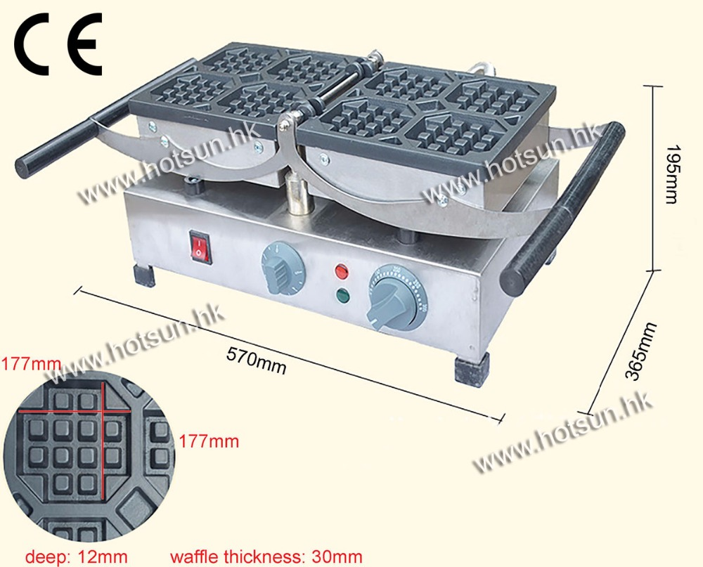 180 Degree Rotated  8.4x8.4cm  Electric Liege Swing Belgian Waffle Baker Maker Machine 110v 220v electric belgian liege waffle baker maker machine iron