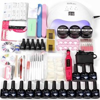 48w/36w Nail LED UV Lamp for Nail Set UV Gel Manicure set Choose 12 Colors Gel Nail Polish Base Top Coat Tool set for Manicure