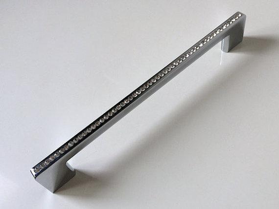 "7.55 "" 192 mm Crystal Dresser gaveta puxa alças puxadores Knob Rhinestone de vidro cozinha móveis Handle Bling Blings"