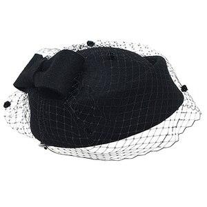 Image 3 - קלאסי צמר מגבעות לבד Felt הפילבוקס כובע צעיף קשת נשים שמלת Fascinator כובע חתונה כובע גבירותיי דרבי המפלגה בארה ב שחור לבן