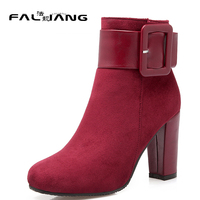 Sexy Black Belt Buckle Square Toe Square Heel Super High Heels 2017 Winter Boots Cattle Suede