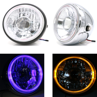 Universal Refit Motorcycle LED Headlight 60W High/Low Beam Motorbike Headlamp Scooter Retro Head Lamp Motor Round Front Lights