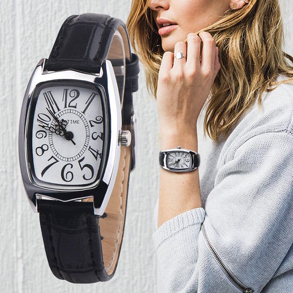 High End Fashion Women Quartz WristWatch Luxury Brand Leather Strap Ladies Watches Square Case Dial Digital Watch Kol Saati #B