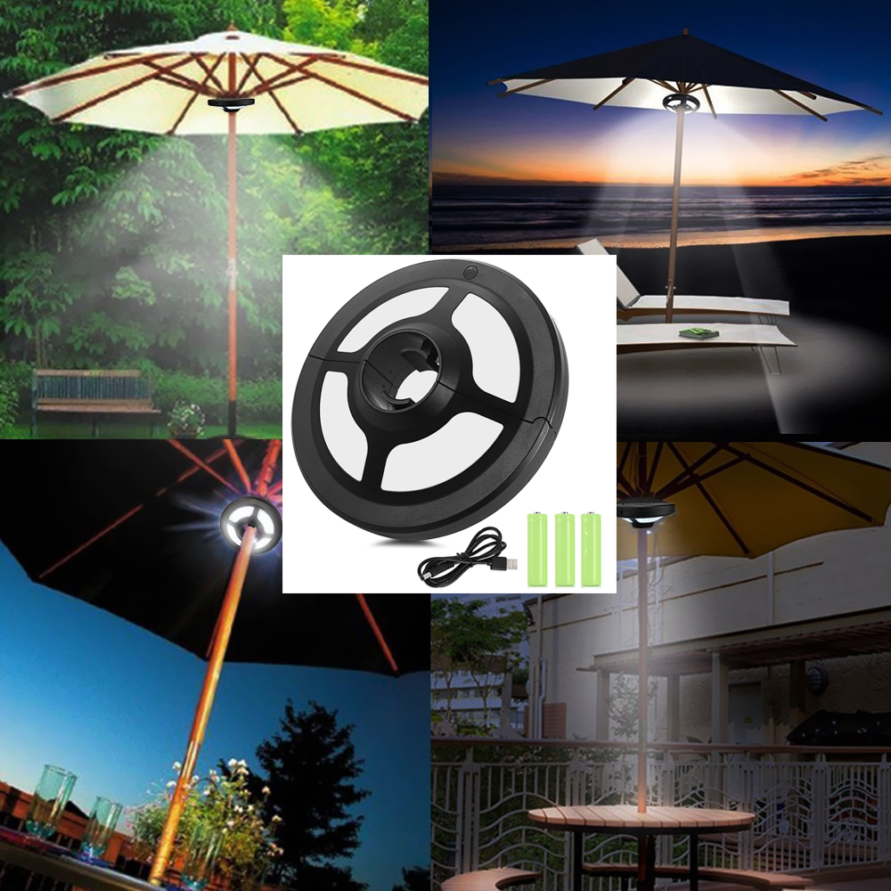 High Bright 36 LEDs Battery Flag Pole Light Lamp Dimmable Outdoor Garden  Camping Tent Lamps Adjustable Patio Umbrella LED Lights