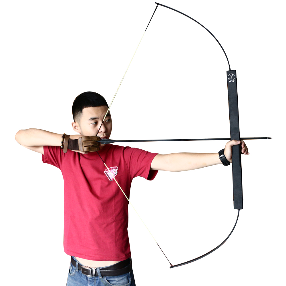 40-60lbs Black Aluminum Alloy Archery Competitive Straight Bow Outdoor Archery Shooting Hunting Bow Portable Folding Bow shooting straight
