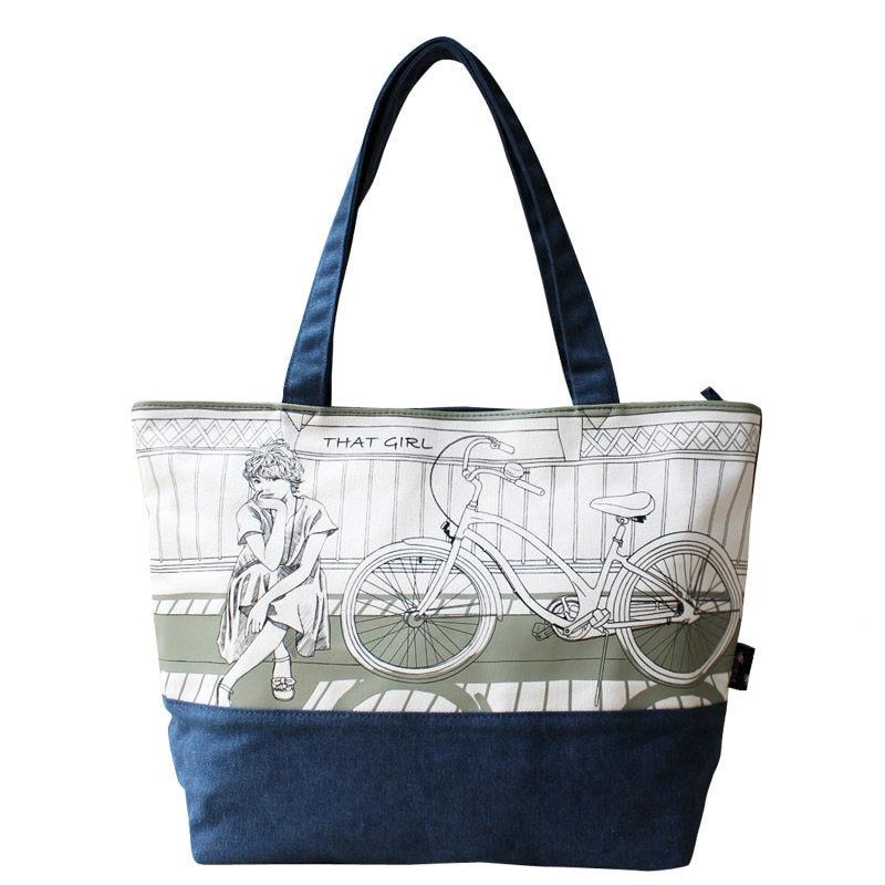 a8e3a0ab43c50 2016 New Fashion Druk Panie Tote Bag Świeże I Preppy Stylu Cartoon Torba na  ramię Kobiety Projektant Niebieski i Beżowy Płótno Torba na ramię