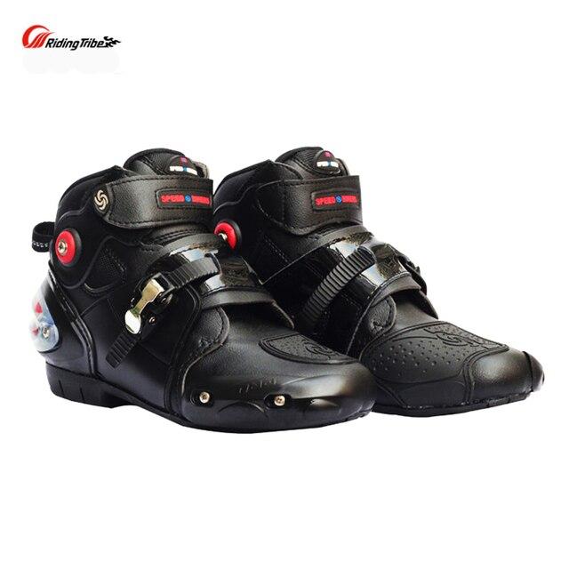 Bottes de course femmes hommes moto bottes de course en cuir microfibre course Motocross moto bottes de course pour la course