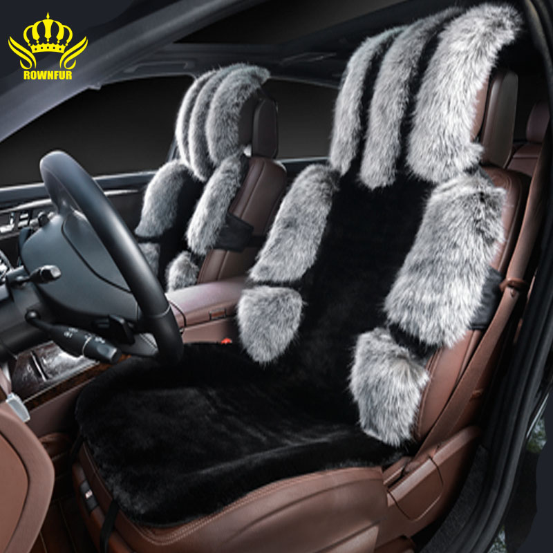 2016new Black GRAY Faur Fur Car Seat Covercar Covers Universal Size For