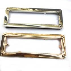 Золото прямоугольник металла кошелек, ручка овальными вырезами одной ручке, 15 см Ширина