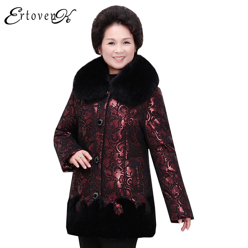 Middle-aged Winter Jackets 2017 Women Coats Casual Outerwear Long-sleeved Plus Size Clothing Fur collar Top abrigos mujer LH084 plus size women cotton coats jacket winter 2017 new long sleeve top slim fashion clothing korean outerwear abrigos mujer lh013