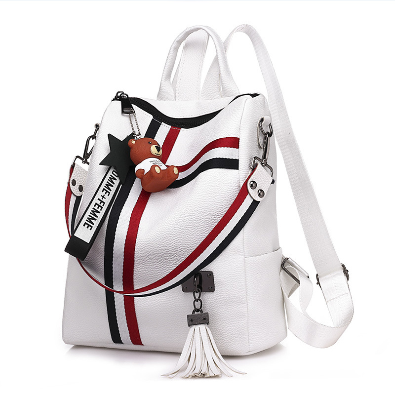 Fashion Striped School Backpack Women Cute Bear Pendant Female Leather Backpack For Teenage Girls Student Shoulder School Bag футболка с полной запечаткой для девочек printio книга джунглей the jungle book