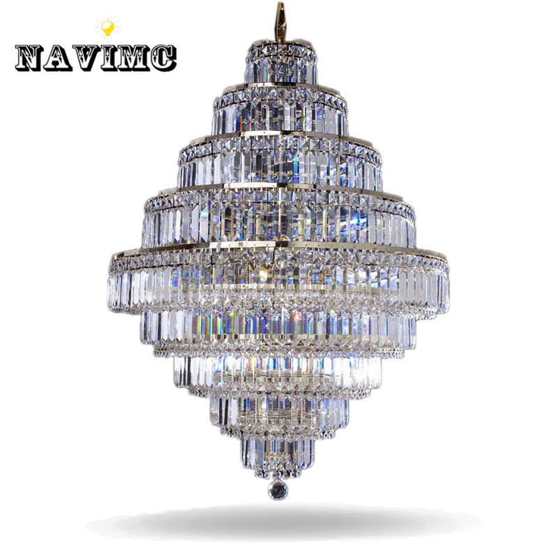 цена Top Luxury Big Europe Large Gold Luster K9 Crystal Chandelier Light Fixture Classic Light Fitment for Hotel Lounge Decoratiion