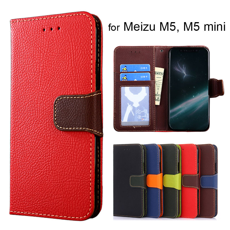 Wallet case for Meizu M5 Litchi pattern PU leather with inside soft TPU cover coque Hit color design fashion style for M5 mini