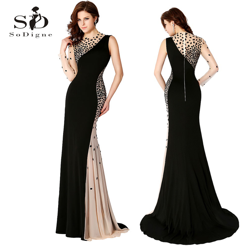 Long Gown Black Evening Dresses Mermaid Dress One-shoulder Rhinestones Evening Gowns Elegant 2018 Sexy Beaded Contrast Color
