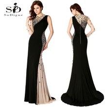 Evening Dress 2016 SoDigne Sexy Full Sleeve Beaded High Quality O-neck Party Elegant Lange Abendkleider Luxury